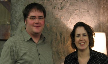 Photo of Derek Newman-Stille and Kelley Armstrong at Trent University's Alumni House