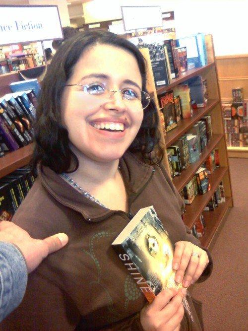"Silvia Moreno-Garcia with the anthology ""Shine: An Anthology of Optimistic Science Fiction"""