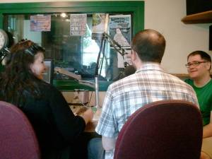 Photo of Sandra Kasturi, Ian Rogers, and Derek Newman-Stille at Trent Radio. Photo courtesy of Brett Savory