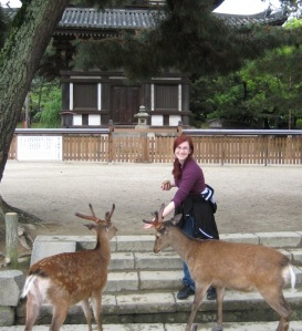"Author image of Anna Frost.  Anna Notes: ""This was taken in Nara, Japan, in 2008. Nara is a popular destination because of its numerous temples and its tame sika deer. They close in rather quickly when they figure out you've got deer crackers in hand! """