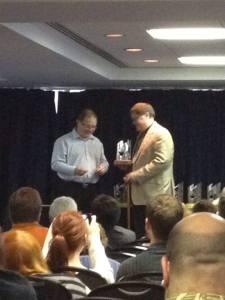 Accepting the Aurora Award. Photo Credit - Dwayne Collins