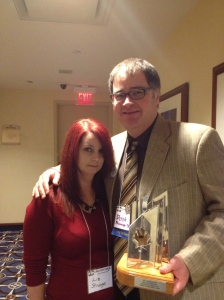 Derek Newman-Stille and Liz Strange at Can Con 2013 after Derek won the Autora Award