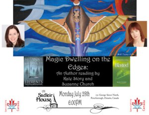 "Poster from the Author reading ""Magic Dwelling on the Edges: An Author Reading by Kate Story and Suzanne Church"""